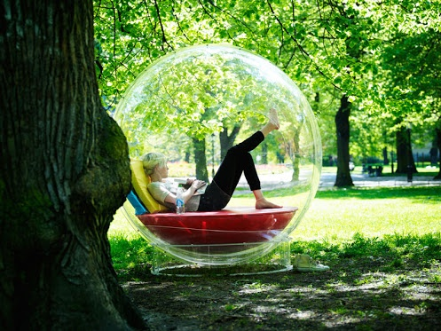 Look at this. I believe you have plenty ideas to put a cocoon like this. It functions indoor as well as outdoor.