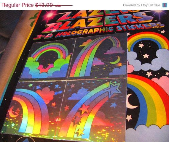ON SALE Rare Vintage Lazer Blazers Rainbow Hologram Stickers 80's Collectable New in Package by VintageStickerLove on Etsy https://www.etsy.com/listing/96652645/on-sale-rare-vintage-lazer-blazers