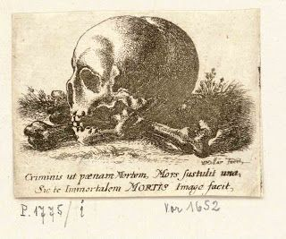 Vintage Ephemera: Engraving, skull and crossbones, 17th century