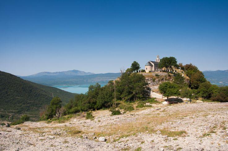 Church overlooking the Bileća lake in Bosnia and Herzegovina   Kostelík nad jezerem Bilečko v Bosně a Hercegovině.
