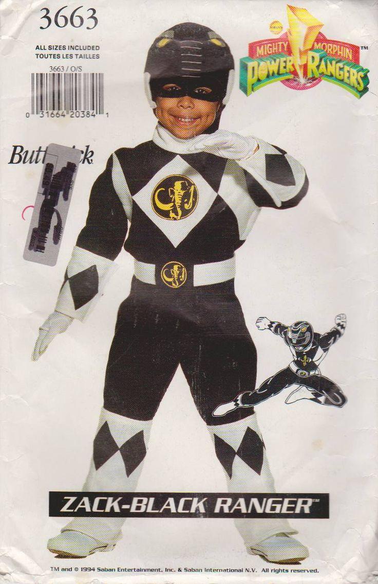 Butterick Sewing Pattern 3663 Child's Boys Girls Sizes 4-14 Power Ranger Costume Zack-Black    Butterick+Sewing+Pattern+3663+Child's+Boys+Girls+Sizes+4-14+Power+Ranger+Costume+Zack-Black