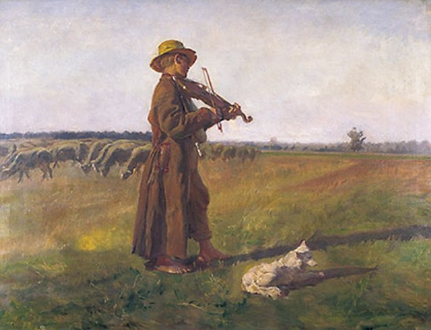 """""""Shepherd"""" by Józef Chełmoński. Born 1849 in Lowicz, died 1914 in Grodzisk Mazowiecki. Known for love of pasant life, landscapes and villages."""