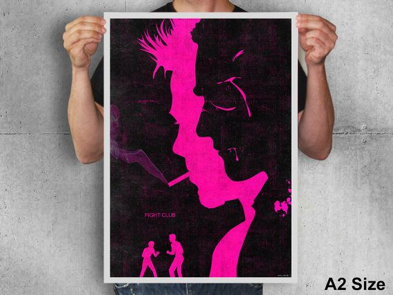 Fight club poster print brad pitt art movie poster black pink alternative movie poster