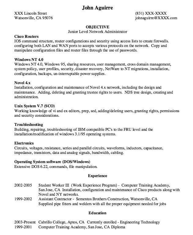Junior Level Network Administrator Resume - http://resumesdesign.com/junior-level-network-administrator-resume/