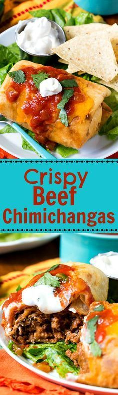Beef Chimichangas filled with a ground beef/refried bean mixture seasoned with chili powder, cumin, and oregano, rolled up and fried until crispy, and covered with cheese and jalapeno tomato sauce tastes so much better than restaurant chimichangas.