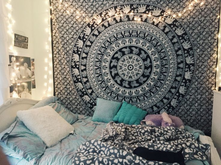 Tumblr, Bedroom, Inspiration, Lights, Tapestry, Pillows, Tiffany Blue, Bohemian, Elephants
