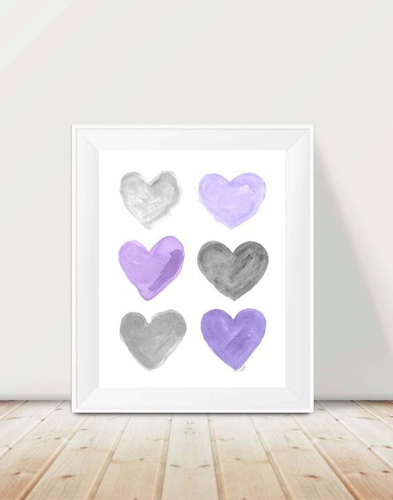 Purple and Gray Nursery, 11x14 Watercolor Print, Purple and Gray Art, Lavender…