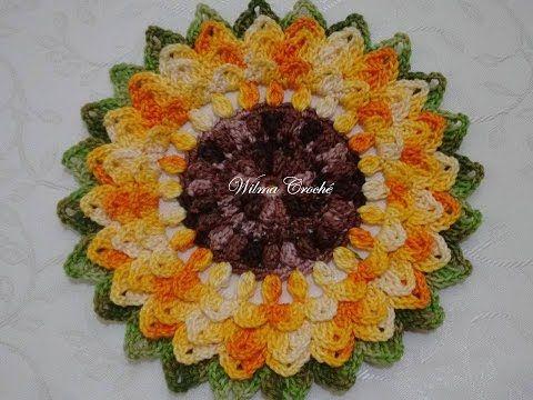 Flor de Crochê Girassol Passo a Passo - YouTube