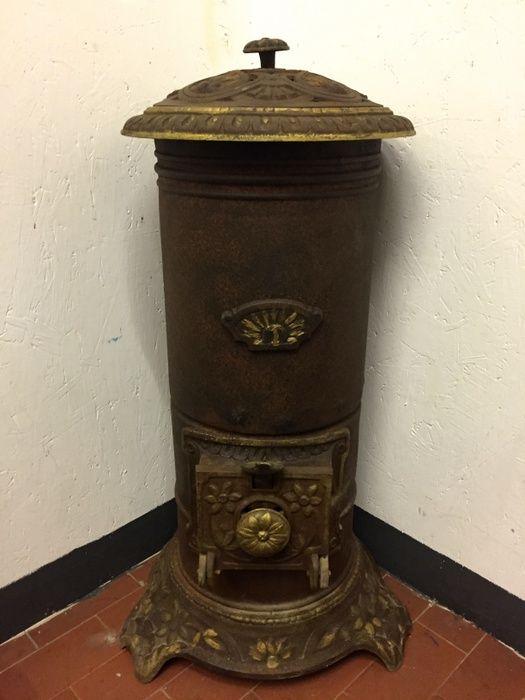 Oggettistica d`epoca - Bronzo ottone ferro - Antica stufa a legna ...