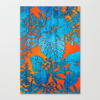 Tropical Soul Setting Stretched Canvas by Vikki Salmela - $85.00 #tropical #soul #art for #home, #gift or #office. #Bright #turquoise and #corals from a #hand #painted #retro #tropic of #hibiscus with #Palm and #rainforest #leaves. #Canvas and #available on other #products and #medium.