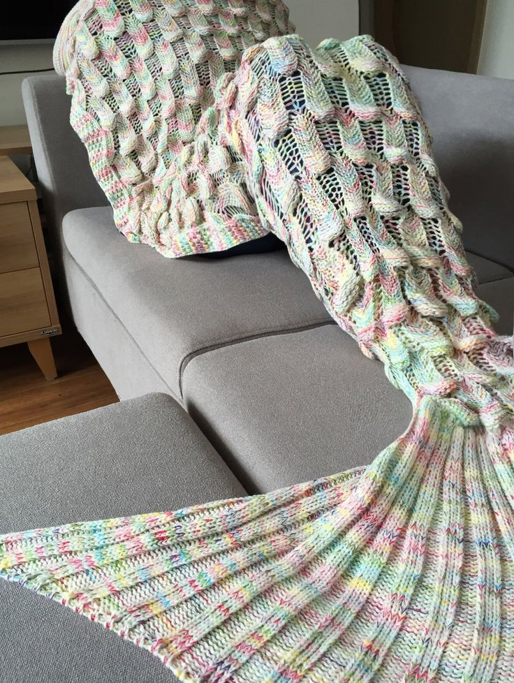 Chic Quality Fish Scale Shape Mermaid Tail Design Knitting Blanket For Adult                                                                                                                                                      More