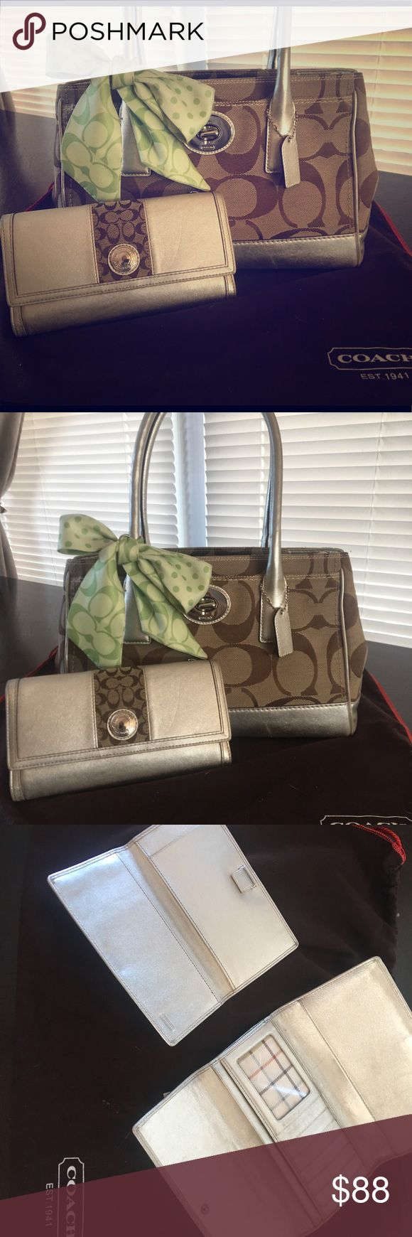 Coach Purse and Wallet Set 💚EXCELLENT Condition💚 Price reduced!  Beautiful Coach Purse AND matching Wallet.  Jacquard canvas and leather trim.  Normal wear and tear.  No rips, tears or stains.  💚 Make me an offer!  I do bundle discounts and include a surprise in each package shipped 🎁 Coach Bags Shoulder Bags