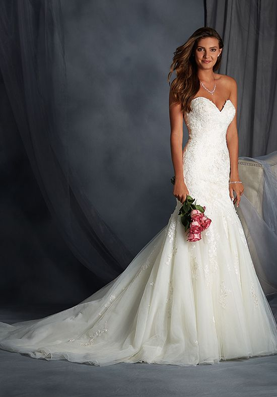Strapless organza gown with embellished lace I Style: 2558 I The Alfred Angelo Collection I http://knot.ly/6497BFMoJ
