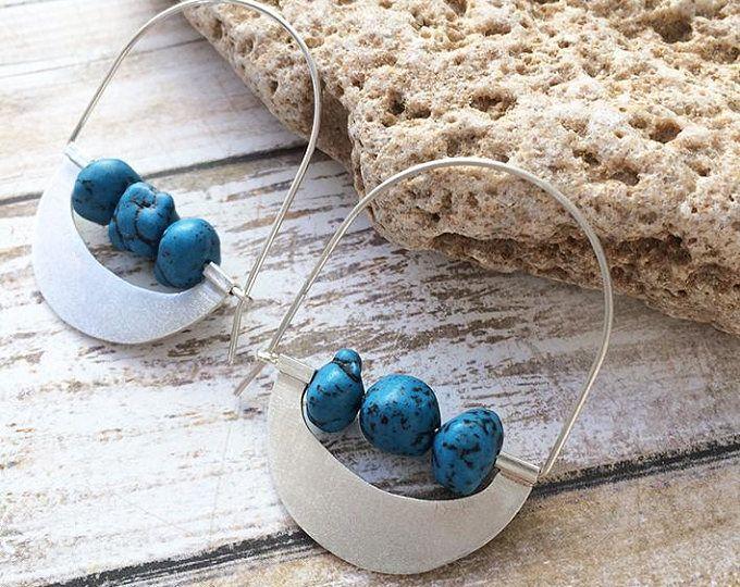 Sterling silver hoop earrings -dangle and drop - turquoise stones -tribal earrings - geometric jewelry - half moon - contemporary jewellery