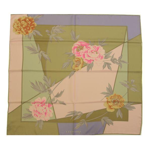 Leonard L9090M-S7271 2 Floral/Shape Silk Scarf – Pink/Green