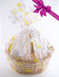 Our 8-piece gift basket is perfect for the mom to be, with our entire line of products, a baby bath sponge and three Try and travel samples wrapped in cellophane and ready for holiday gift giving. Sulfate, paraben and phthalate free!