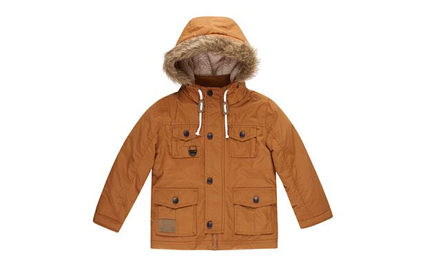 "Parka-Style Jacket. ""Practical and stylish, this cool parka-style jacket has a faux fur trimmed hood to protect him from the elements."""
