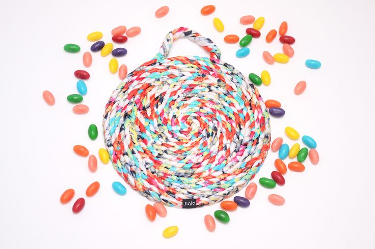 Candy Drops hotpad handmade with textile waste by Jinja. So sweet!  http://jinjaritual.com/products-page/
