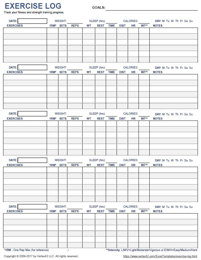 Download a printable exercise log to track your daily ...