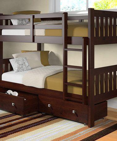 Dark Cappuccino Mission Twin Bunk Bed & Drawer Set #zulily #zulilyfinds