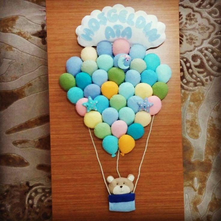 baloon bear baby boy balon kapı süsü