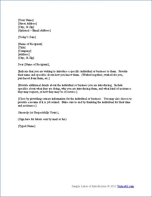 Download a free Letter of Introduction Template for Word and view a sample business associate introduction letter.