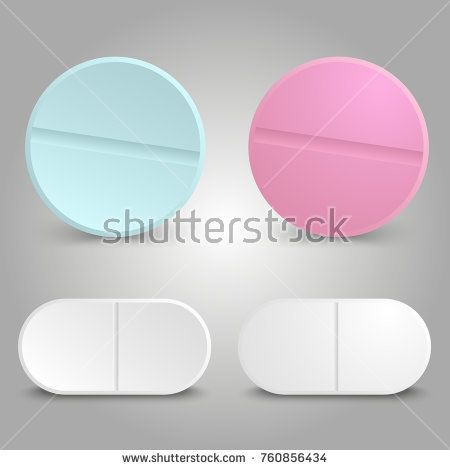Stock Vector: Realistic drug design - medicinal color pills of set. Vector illustration -