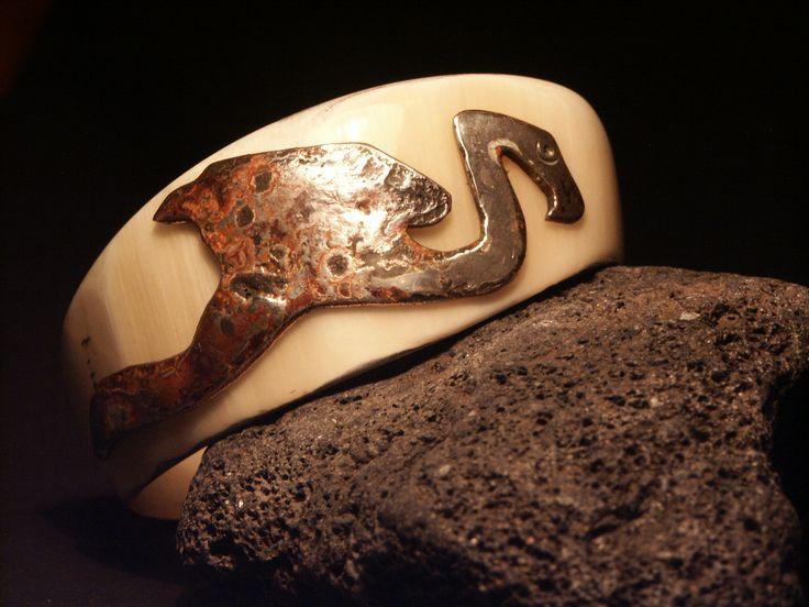 Armreif...bracelet - FLAMINGO - cow horn, silver, copper