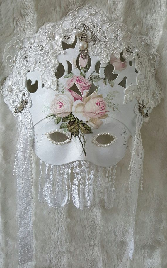 Masquerade mask    shabby chic decor   party  by Chiclaceandpearls
