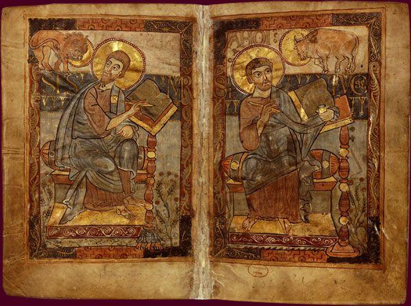 Évangéliaire de Charlemagne Les évangélistes saint Marc et saint Luc École du Palais de Charlemagne, 781-783, ms. réalisé par Godescalc BnF, Manuscrits, Nouv. acq. nal.1203 fol. 1v-2