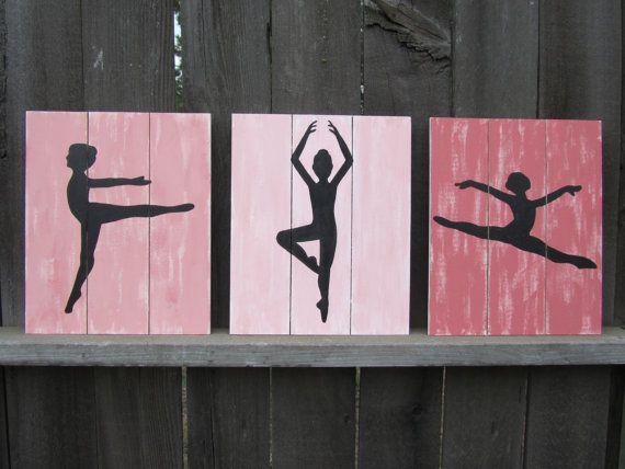 Ballerina Wall Art / Ballet / Dance, coral pink girls room / nursery decor / wall decor / baby girl nursery art (hand painted on wood)