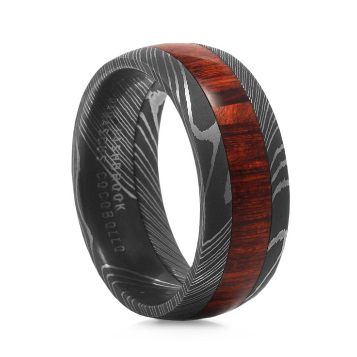 Lashbrook:  Arbor Damascus Steel Ring with Wood Inlay (Cocobollo Wood - Central American)