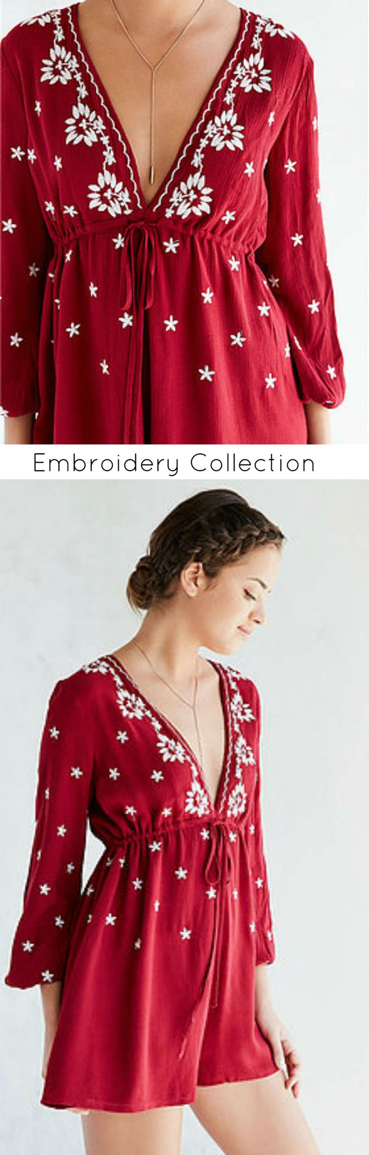 $39 - Little Red Romper is Now Available at Pasaboho ( an embroidered long sleeve exhibits brilliant design with beautiful embroidery patterns - Meredith McCook