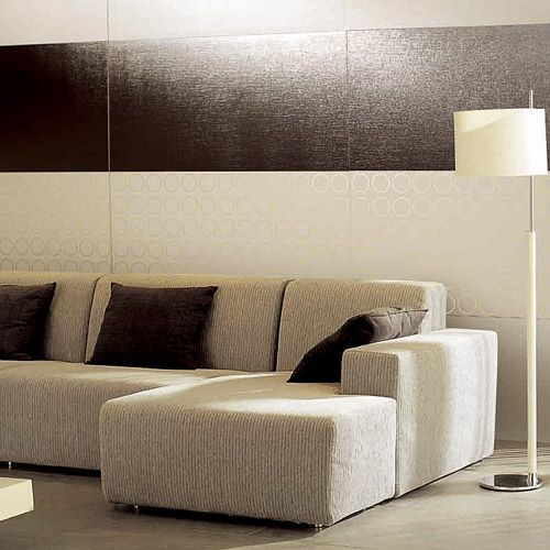 Metallic effect porcelain tiles for walls and floors. Love the reflection they give off.