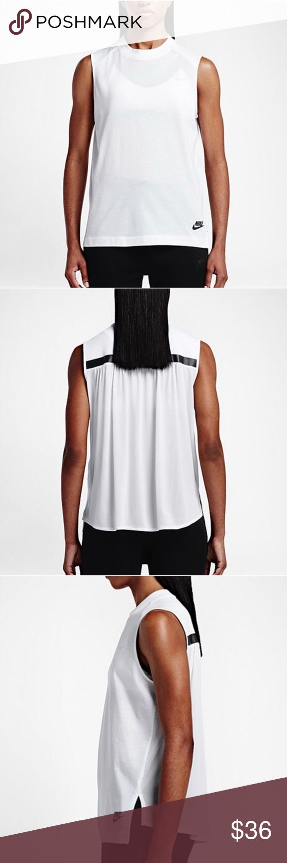NIKE HIGH NECK WORKOUT TANK Nike sportswear workout tank. So great with high fashion neck and drape back detail. Reverse high low hem and loose fit! Nike Tops