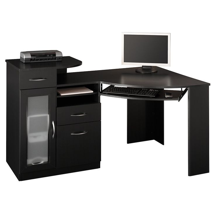 Bush Vantage Corner Desks Black For You Home Office Store Your CPU Inside  The Frosted Glass