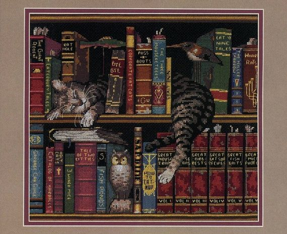 Frederick the Literate Cross Stitch or Needlepoint by LuckyKorat, $2.49