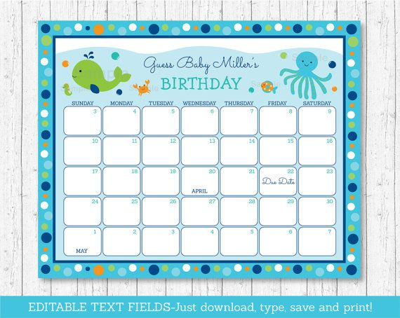Cute Under The Sea Baby Due Date Calendar / Under The Sea Baby Shower / Birthday Predictions / Guessing Game / INSTANT DOWNLOAD Editable PDF