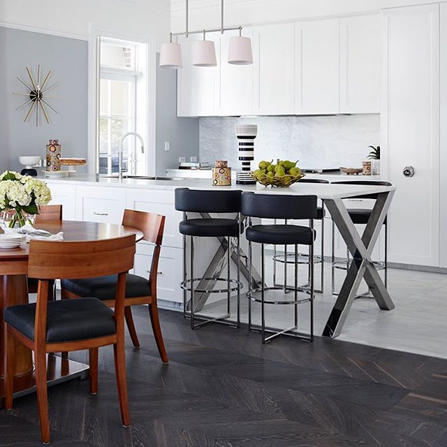 Designed by: gregnatale.com  kitchen island + wood legs + round dining table…