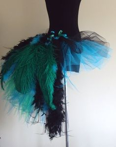 DIY peacock tutu costume. Great idea for Halloween.