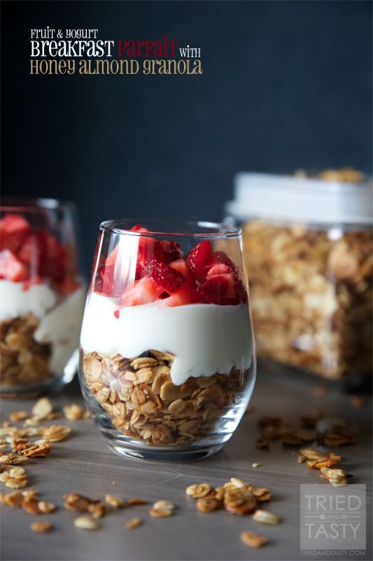 Fruit & Yogurt Breakfast Parfait with Honey Almond Granola