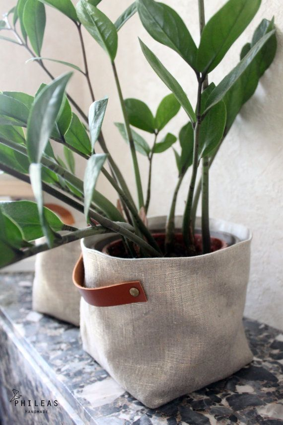 The large Linen Box - large box basket, storage, or plant pot, in linen labeled Sanelin and Golden iridescent linen, camel leather handles