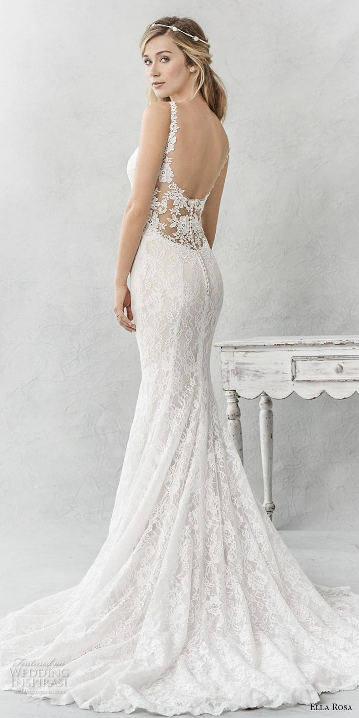 Ella Rosa spring 2017 bridal sleeveless thin strap sweetheart neckline full embellishment elegant sheath fit flare wedding dress open back chapel train (365) bv #wedding #bridal #weddingdress