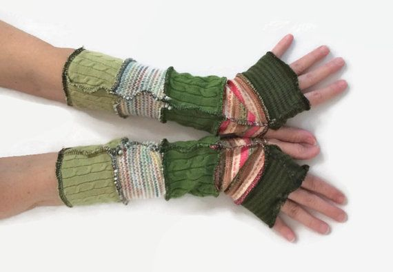 Upcycled Fingerless Gloves Green and Pink by malibuquilts on Etsy, $24.00