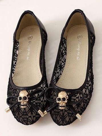 Unique Black Skull with Bow knot Lace Flat Shoe