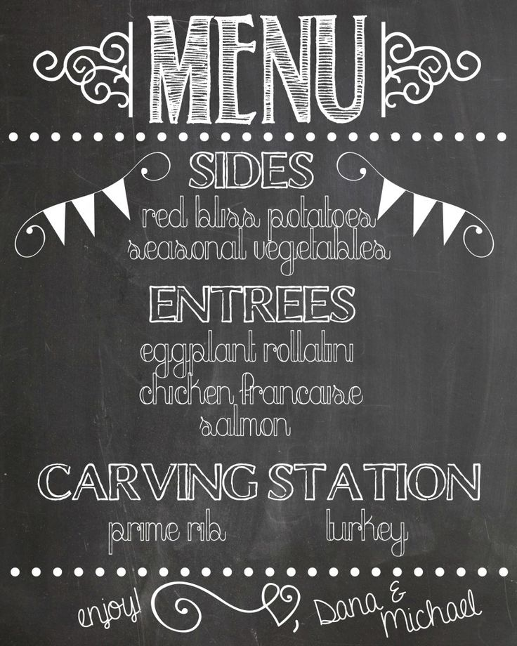 Chalkboard Designs Ideas find this pin and more on chalkboard ideas Create A Chalkboard Menu To Let Guests Know What Will Be Served At Your Wedding Chalkboard Designschalkboard Ideaswedding