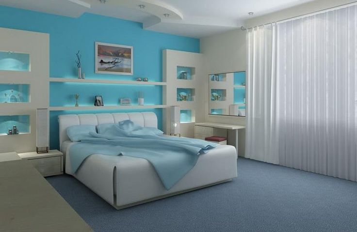 Home Decor, Blue And Exciting Ideas For Bedroom And Good Colors To Paint A Room That Look So Beautiful With Shelf On The Wall As The Storage For Accessories And Decoration Also Makeup Area With Mirror ~ Knowing About The Goods Colors To Paint A Room
