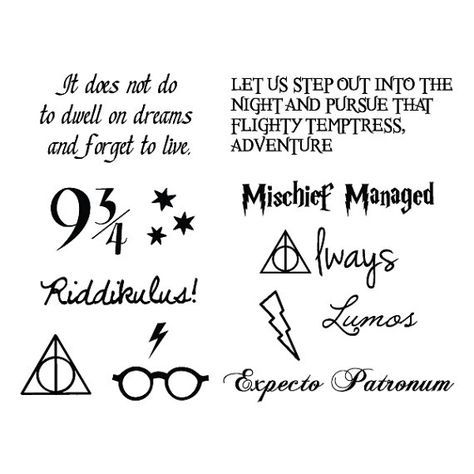Harry Potter Temporary Tattoo Set of 24 by Tattify on Etsy