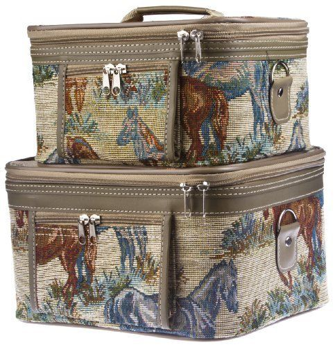 "Two Horse Tapestry Train Cases Cosmetics Makeup by HT Designs. $34.04. Makeup cases are very solid and  preformed. Mirrors located in cases.. Zippered compartments. Fabric: Sturdy Tapestry; easy-to-clean lining.. Tapestry. Black interior. Attachable shoulder strap. One case fits inside another.. Approximate Size: Large Case: 11"" x 7"" x 9.5 and smaller case is 10.5"" x 8"" x 6"". Item #: HT530"