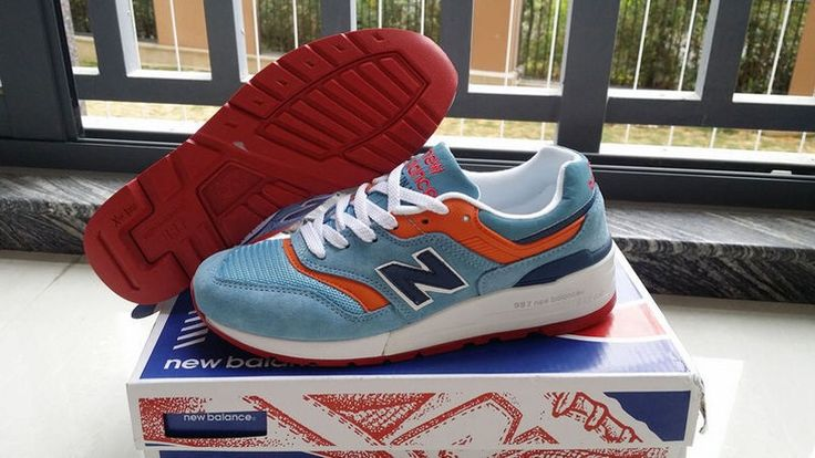 New Balance 997 Trainers Women's Gym Shoes Absorbing Blue/Red M997MB